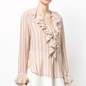 See By Chloe Ruffle Striped Blouse Size Small Pink